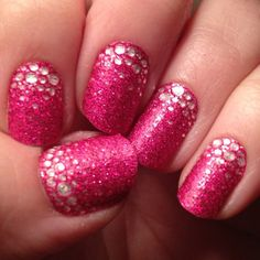 Pink glitter Nail Art #nails www.finditforweddings.com