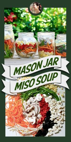 Mason Jar Miso Soup (Vegan) – Great for on-the-go or for work lunch! Mason Jar Miso Soup (Vegan) – Great for on-the-go or for work lunch! Mason Jar Meals, Meals In A Jar, Mason Jar Diy, Vegan Soups, Vegan Recipes, Jar Recipes, Salad Recipes, Juice Recipes, Freezer Recipes
