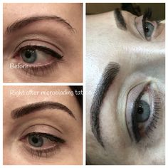 Before and after microblading which is a manual tattoo technique for semi permanent makeup eyebrows.