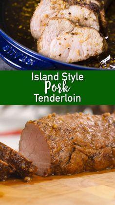 Island Style Pork Tenderloin-Island Style Pork Tenderloin This is legit the most amazing pork tenderloin recipe ever. Bringing some island love into your home with this delicious pork tenderloin! Pork Loin Recipes Oven, Roast Recipes, Oven Recipes, Cooking Recipes, Kid Recipes, Easter Recipes, Recipes Dinner, Best Pork Loin Recipe, Chicken Recipes