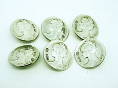 6 Art Nouveau Silver Buttons, ANTIQUE, English, Hallmarked 1901, William M Hayes, REF:269F