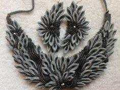 Flower Handmade Beadwork necklace kanzashi by akimova7771 on Etsy