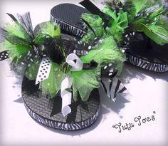 Zebra & Lime Cheer Flip flops