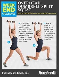 Weekend Challenge: Overhead Dumbbell Split Squat http://www.womenshealthmag.com/fitness/weekend-challenge-overhead-dumbbell-split-squat