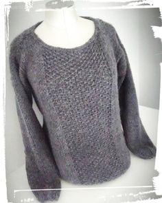 Réalisation pull douillet laine drops andes diy hand made gris monblabladefille.com