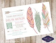 POW WOW Birthday Invitation, Printable BIRTHDAY Invitation, Aztec Invitations, Feather Invitations, Indian Tribal, Feather White Invitation