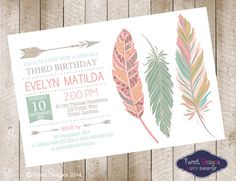baby shower invitations feather theme  | POW WOW anniversaire Invitation, Invitation anniversaire à imprimer ...                                                                                                                                                                                 Más