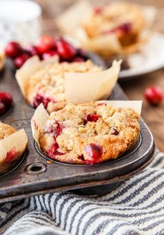 Recipe for a small batch of cranberry coffee cake muffins @dessertfortwo