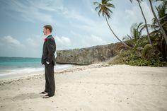 The groom waiting for his bride. Destination wedding in Barbados.