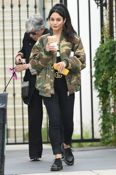Vanessa Hudgens wearing Gucci Crocodile Belt with Double G Buckle and Dr. Martens 8053 Shoes