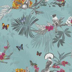 Mystical Forest Wallpaper - Teal - 664801| Feature | Decor | Birds