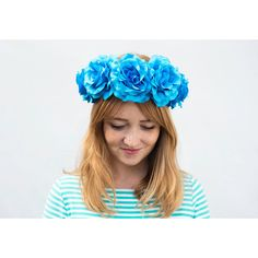 Turquoise Blue Rose Crown Coachella 2016 Blue Flower Crown Frida Kahlo... ($45) ❤ liked on Polyvore featuring accessories, hair accessories, grey, headbands & turbans, floral garland, flower crown, blue garland, floral crown and rose headband