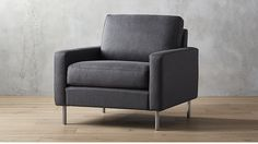 Midcentury looks with modern comfort. Tailored graphite weave suits a clean, linear silhouette topped with an oversized cushion that invites lounging. Chairs For Small Spaces, Small Accent Chairs, Accent Chairs For Living Room, New Living Room, Dining Room Chairs, Side Chairs, Living Room Furniture, Lounge Chairs, Rattan Armchair