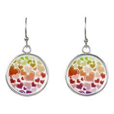 Funky Bright Hearts Pattern Earrings