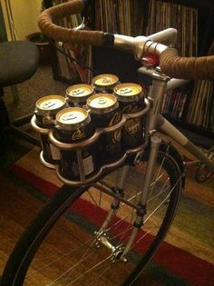 Bicycle rack because a regular basket would rattle your beers :P