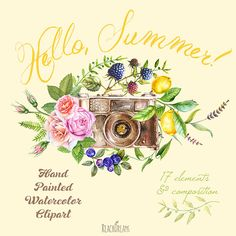 Watercolor Clipart Photo Camera with Floral от ReachDreams на Etsy