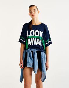 Pull&Bear - donna - abbigliamento - magliette - maglietta sporty testo - blu marino - 09236366-I2017