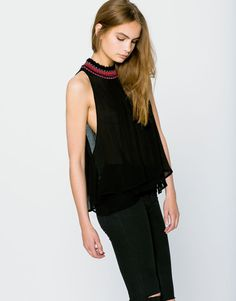 Sleeveless top with gem neckline - Blouses & shirts - Clothing - Woman - PULL&BEAR Singapore