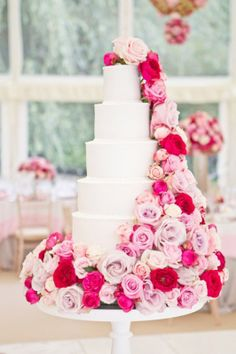 By Appointment Only Design, Cake decorated with pink, blush, hot pink and lavender roses