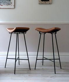 Saddle Stool Leather   Vintage French Cafe Saddle Stools (Set of 4)   Ormston Saint - Home ...