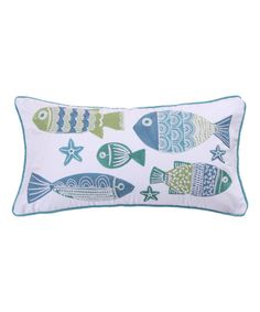 Levtex Home White & Blue Ocean Springs Fish Throw Pillow | zulily