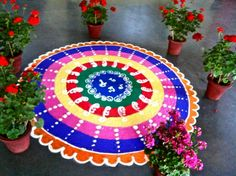 Multi-Coloured Marathi Rangoli Design