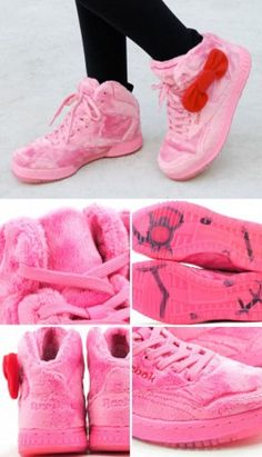 reebok plush kitty classic - The Reebok Plush Kitty Classic sneakers are so soft and cute-looking that you might mistake a pair of these as a Hello Kitty stuffed animal. Hello Kitty Shoes, Hello Kitty Plush, Hello Kitty Items, Pretty Girl Swag, Pretty In Pink, Hello Kiti, Cute Shoes, Me Too Shoes, Stilettos