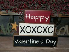 Primitive Happy Valentine's Day Wood Sign Block by BusyMamasPlace, $21.99