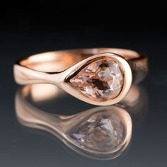 Rose Gold Pear Pink Morganite Tear Drop Bezel Solitaire Engagement Ring, Size 6-7