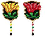 Arts and Crafts Style Floral Earring Pattern.   Two color versions are included in this file. Graph provided in color code mode with list of Delicas needed, thumbnail.  7 colors  Project Type: Bead Stitch: Brick Beads Used: Delicas