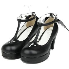 Amazon.com | Black 75MM Heel Ankle-High Round-Toe Lolita Cosplay Shoes... (435 DKK) ❤ liked on Polyvore featuring shoes, high heel ankle shoes, black shoes, black high heel shoes, round cap and high heel shoes
