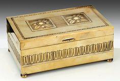 1920 WMF Art Deco hammered Brass Cigarette Box - Tiroche