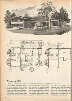 Vintage House Plans, Mid Century Homes, Vintage Home Plans