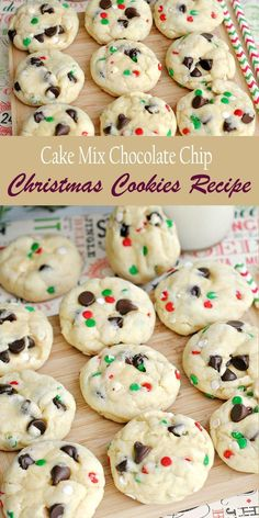 Cake Mix Chocolate Chip Christmas Cookies Here is super easy and fun Cake Mix Chocolate Chip Santa Cookies Recipe to make life a little bit easier when it comes to gift-giving. Take a look at this Cake Mix Chocolate Chip Christmas Cookies Recipe. Christmas Snacks, Christmas Cooking, Holiday Treats, Holiday Recipes, Christmas Goodies, Christmas Parties, Christmas Time, Christmas Christmas, Christmas Shopping