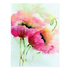 two pink poppies flower paintings Vase-with-pink-roses-flower-painting The based on are a mixture of beautiful and vibrant colours. The can use a mixture of random brush work to make these Watercolor Cards, Watercolor Flowers, Flower Paintings, Paintings Of Flowers, Easy Watercolor, Watercolor Pictures, Tattoo Watercolor, Art Paintings, Pink Poppies