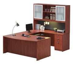 U Shaped Desk With Hutch Cherry By Office Source   1 800 460