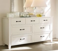 Stratton Extra-Wide Dresser #potterybarn  Love that I can separate my special items on top!