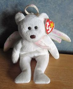 Rare  beanie baby  halo  the  angel bear with eyes nose and tag b6e2e8bdef02