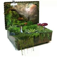 Some great ideas here! Pic in the background, planted in old jewelry box, cut figures……lovely. Fairy Land, Fairy Tales, Fairy Box, Cigar Box Crafts, Fairy Crafts, Deco Originale, Miniature Fairy Gardens, Fairy Houses, Faeries