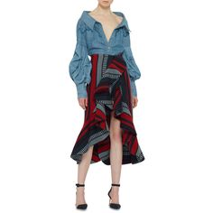 M'O Exclusive Maxmiliana Shirt | Moda Operandi (11.819.135 IDR) ❤ liked on Polyvore featuring tops, blue shirt, button down shirt, blue top, shirt top and button down top