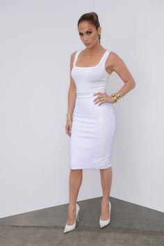 Jennifer Lopez - #style: Azzedine Alaïa top, Milly skirt with Jimmy Choo shoes