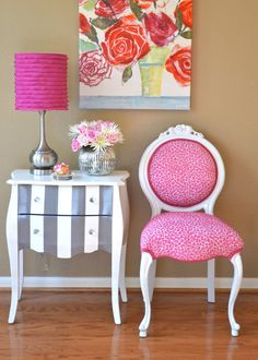 Pink accent chair.
