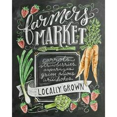 """Springtime means more trips to the Farmer's Market! We are so excited for all the fresh produce and everything green! Our new """"Spring Farmer's Market"""" print is now available in the shop! Chalkboard Print, Chalkboard Designs, Cafe Logo, Des Articles, Lily And Val, Mosaic Kits, Diamond Picture, Mosaic Crosses, Mosaic Pictures"""