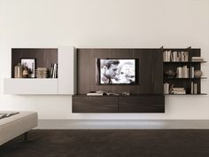 Wall-mounted TV wall system Z238 by Zalf