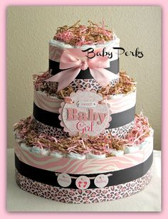 EXTRA LARGE , Safari Diaper Cake , 3 layer Diaper Cake , Safari Baby Shower , Safari Centerpiece. $72.00, via Etsy.