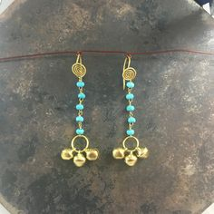 Turquoise wire wrap Ghungroo drop earrings that are a perfect holiday gift. https://www.etsy.com/in-en/listing/474440524/wire-wrapped-ghungroo-drop-earrings https://www.etsy.com