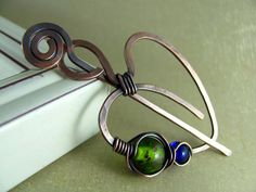 Copper Shawl Pin Copper Brooch Scarf Pin Heart Pin Sweater Pin Hand Forged Fibula Wire Wrapped Wirework Art Jewelry.