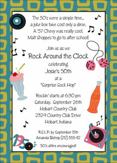 Image detail for -50's Theme Birthday Party Invitation | Adult Birthday Invitations ...