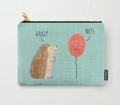A pouch depicting the truest form of unrequited love, brought to you by a hedgehog's quills. Hedgehog Care, Happy Hedgehog, Pygmy Hedgehog, Cute Hedgehog, Hedgehog Accessories, Love Gifts, Illustrations, Purses And Bags, Cute Animals