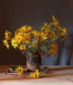 still life with yellow flowers  Stock Photo